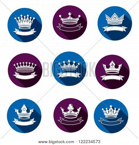 Stylized Royal 3D Design Elements, Set Of King Crowns. Majestic Vector Symbols With Decorative Festi