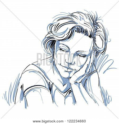 Graphic vector hand-drawn illustration of white skin attractive loving lady with stylish haircut. People face expressions.
