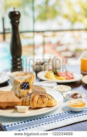 Delicious breakfast at the luxury hotel, copy space