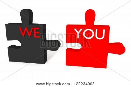 Black and red Puzzle we and you on white background