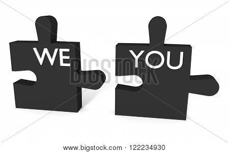 Black Puzzle we and you on white background
