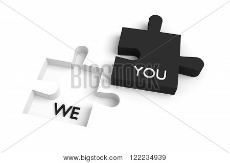 Missing puzzle piece we and you black and white