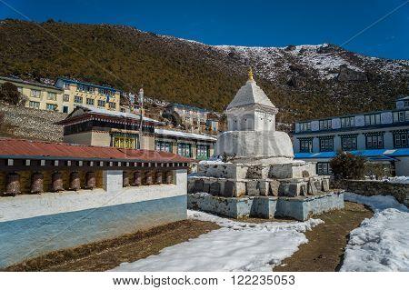 Sagarmatha National Park, Nepal, 9th March 2015. Stupa on the way to Everest base camp.
