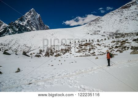 Sagarmatha National Park Nepal March 14th 2015. A trekker is going back from Everest Base Camp in Nepal