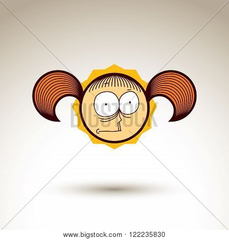 Vector Hand Drawn Girl With Fashionable Hairdo. Facial Expression Theme Graphic Element Isolated. So