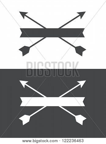 Vector crossed arrow crest in grey and reverse