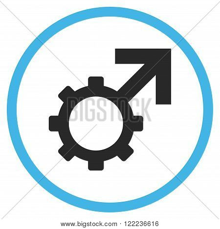 Technological Potence vector bicolor icon. Image style is a flat icon symbol inside a circle, blue and gray colors, white background.