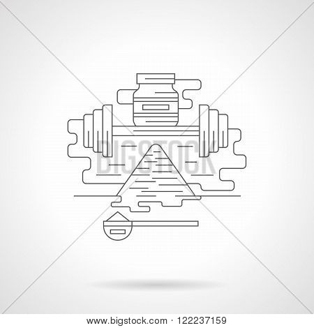 Fitness supplies detailed flat line vector icon