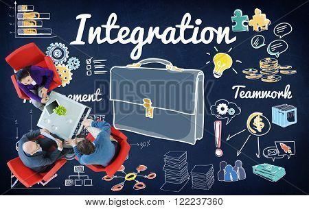 Integration Blend Combine Merge Unite Consolidate Concept