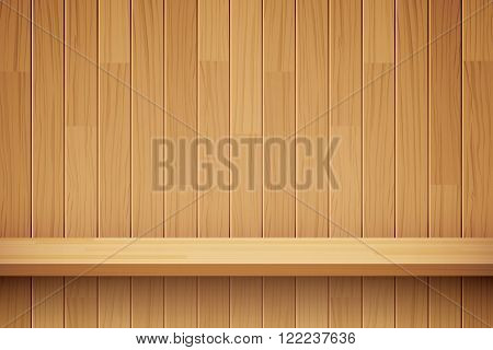 vector empty wooden shelf background for web and print