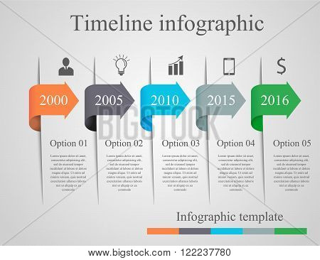 Infographics arrow timeline template. Can be used for workflow layout, banner, diagram, number options, step up options, web design, infographics