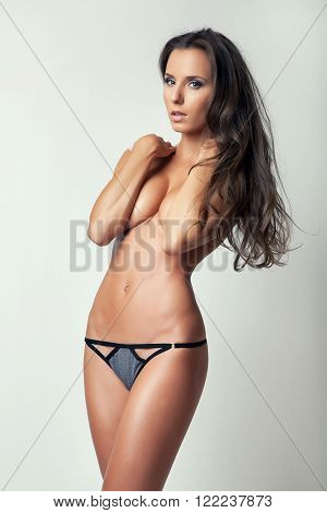 sexy attractive glamour slim girl in panties