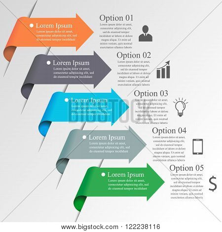 Infographics arrow template. Can be used for workflow layout, banner, diagram, number options, step up options, web design, infographics.  Business concept with 5 options, parts, steps or processes