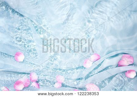 Rose petal in water with soft silk