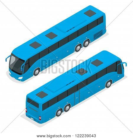 3D isometric bus. Tourist bus. Global transportation. Vector isometric bus