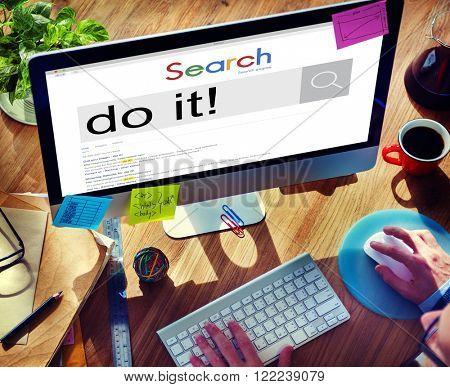 Do It Action Encourage Motivate Progress Strategy Concept