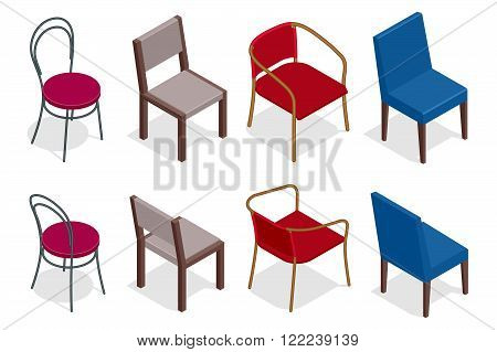 Vector cafe chair collection. Flat 3d vector isometric cafe chairs illustration