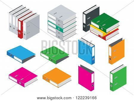 Binder blank file folder. Composition Isolated on White Background. Flat 3d isometric vector blank case binder illustration