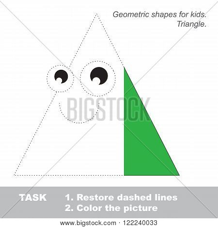Triangle in vector to be traced. Restore dashed line and color the picture. Trace game for children.