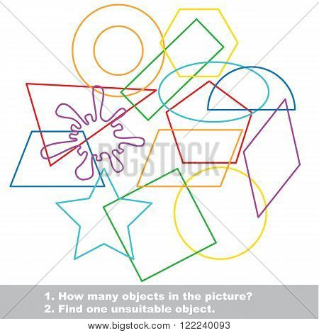 Geometric shapes set mishmash colorful set in vector. Find all hidden objects on the picture. Find one unfit object. Visual game for children.