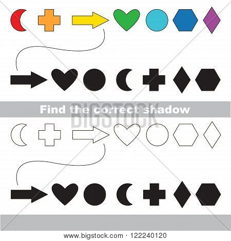 Geometric shapes set with shadows to find the correct one. Compare and connect objects. and their true shadows. Logic game for children.