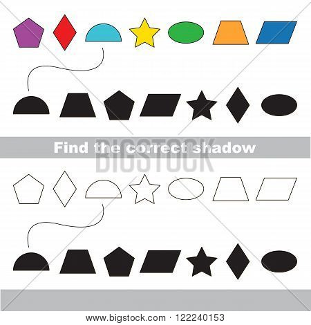Geometric shapes colorful set with shadows to find the correct one. Compare and connect objects. and their true shadows. Logic game for children.