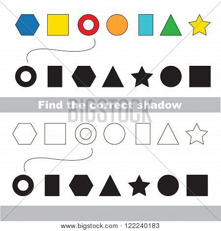 Geometric shapes set with shadows to find the correct one. Colorless version include. Compare and connect objects. and their true shadows. Logic game for children.
