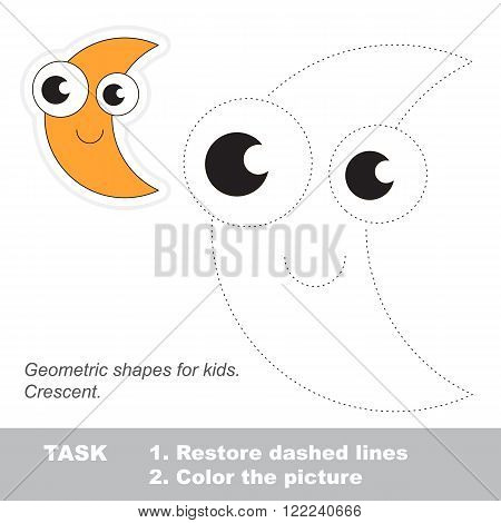 Crescent in vector to be traced. Restore dashed line and color the picture. Trace game for children.