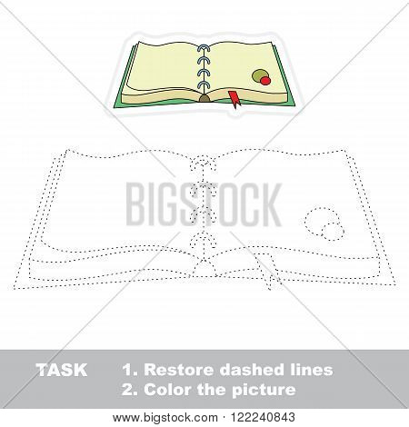 Diary in vector to be traced. Restore dashed line and color the picture. Trace game for children.