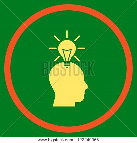 Genius Bulb vector bicolor icon. Image style is a flat icon symbol inside a circle, orange and yellow colors, green background.