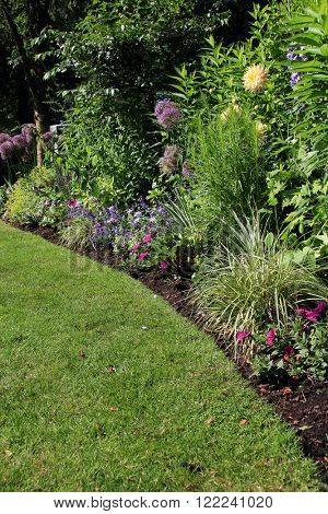 Perennial garden flower bed in summer.