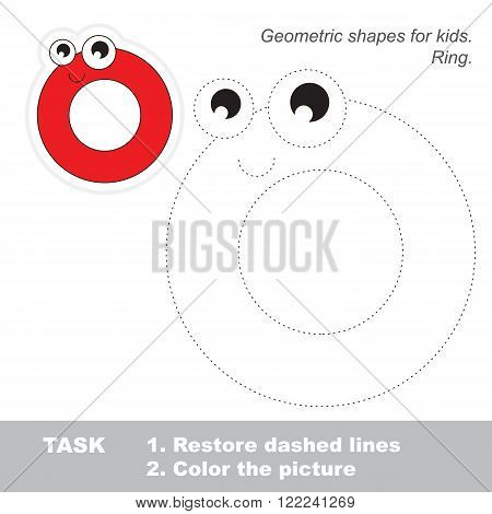 Ring in vector to be traced. Restore dashed line and color the picture. Trace game for children.