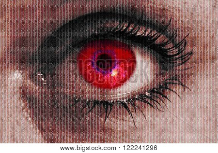 futuristic red eye with matrix texture looking at viewer.