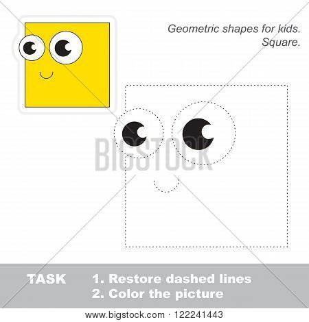 Square in vector to be traced. Restore dashed line and color the picture. Trace game for children.