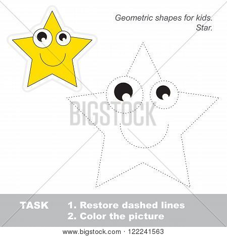 Star in vector to be traced. Restore dashed line and color the picture. Trace game for children.
