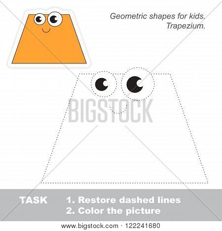 Trapezium in vector to be traced. Restore dashed line and color the picture. Trace game for children.