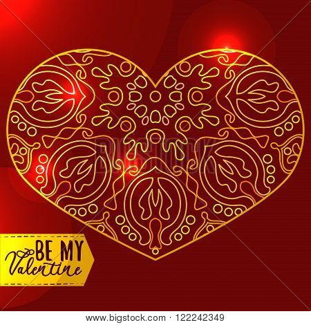 Ornamental Golden Heart with highlights. Vintage ornate design element for Valentine's Day or Wedding. Golden and Red Concept. Stock Vector