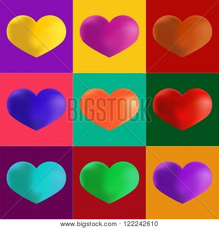 Hearts in different colours. Artistic Pop Art Style. Set of Colorful Icons the shapes of heart. Retro Comics Cartoon Style. Ideal Design Element for Valentines Day or Wedding. Vector Stock.