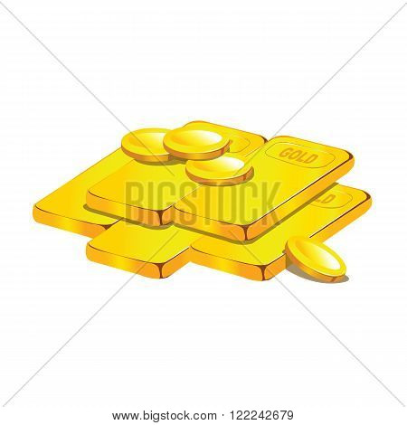 group of gold ingots or bullions and stacks of golden coins isolated on white background with reflec