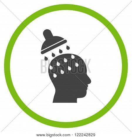 Brain Washing vector bicolor icon. Image style is a flat icon symbol inside a circle, eco green and gray colors, white background.