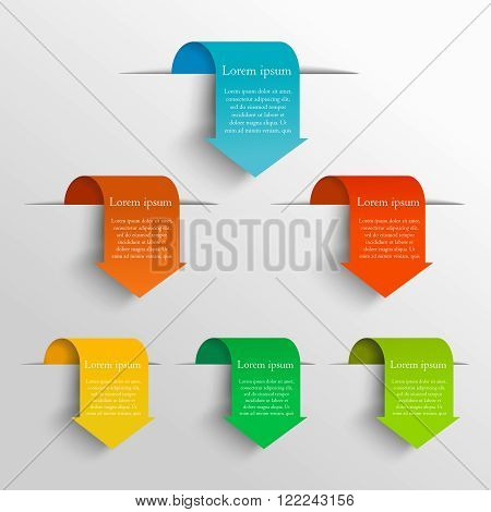 Minimalistic arrow design concept. Can be used for workflow layout, diagram, number and step up options, web design. Infographics background. Set vector arrows in the form of bookmarks