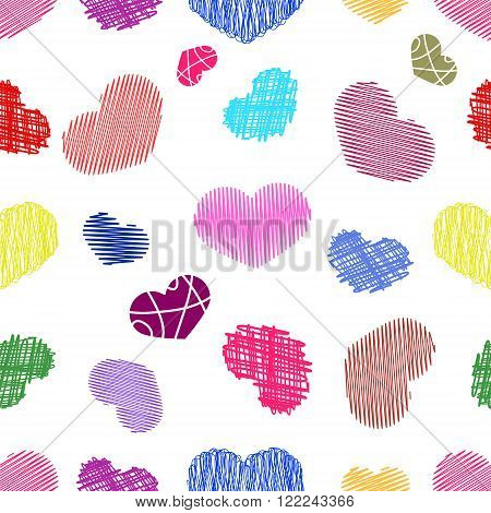 Seamless Pattern with Colorful Stylized hand-drawn Scribble Hearts. St. Valentine's Day or Weddings Design Element. Doodle Sketch Childlike Style. Vector background.