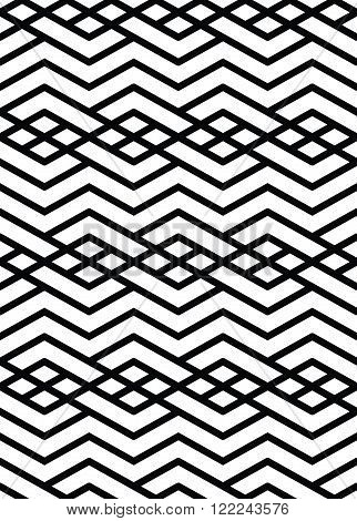 Monochrome geometric art seamless pattern vector mosaic black and white interweave background. Symmetric illusive artificial backdrop.