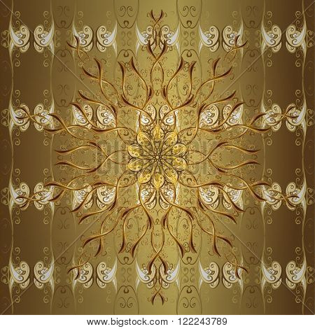 Abstract pattern, vintage gold texture. Floral pattern. Decorative royal seamless floral ornament