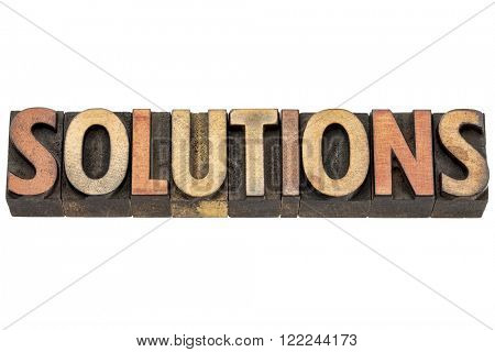 solutions word  - isolated text in vintage letterpress  wood type printing blocks