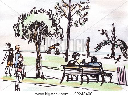 People in the park take a rest