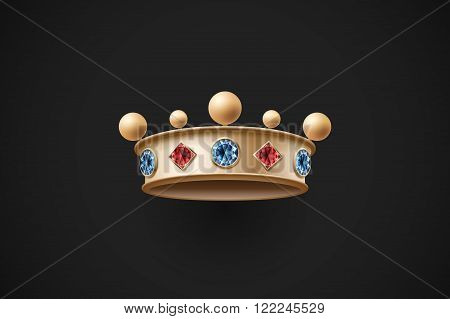 Icon of gold royal crown with red and blue diamond on a dark black background. Vector Illustration