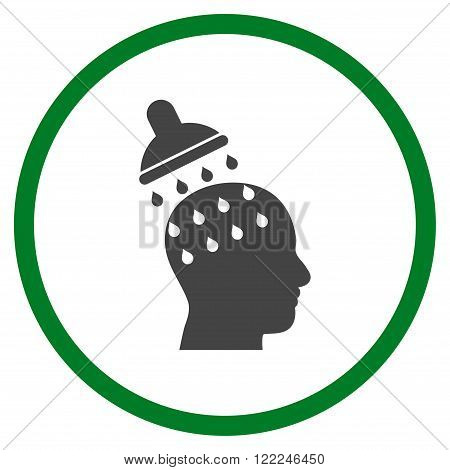 Brain Washing vector bicolor icon. Image style is a flat icon symbol inside a circle, green and gray colors, white background.