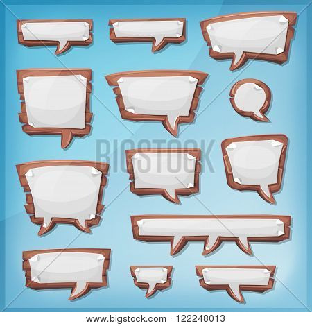 Illustration of a set of cartoon design wooden speech bubbles elements with sheet paper signs for comics ads communication and game ui messages