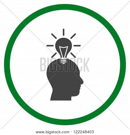 Genius Bulb vector bicolor icon. Image style is a flat icon symbol inside a circle, green and gray colors, white background.
